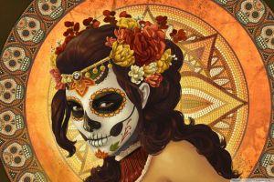 colorful mosaic fantasy art flowers flower in hair mexico pattern curly hair dia de los muertos fantasy girl painting body paint spooky sugar skull digital art