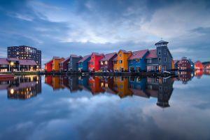 colorful netherlands reflection house cityscape