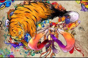 colorful original characters tiger anime girls fantasy art anime snyp