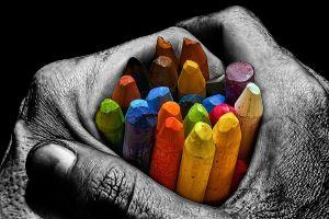 colorful selective coloring pencils hands artwork