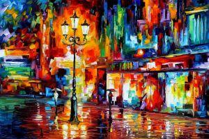 colorful street light umbrella leonid afremov painting artwork