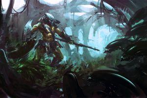 concept art artwork predator (movie) xenomorph aliens fantasy art