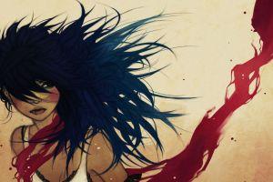 concept art brunette anime girls blue hair artwork women anime