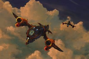 concept art clouds artwork fantasy art flying spaceship