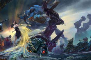 concept art destruction women fantasy art mech robot artwork war
