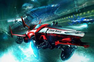 concept art digital art artwork hovercraft red race tracks futuristic spaceship