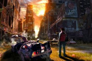 concept art time delorean fantasy art artwork back to the future digital art