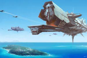contrails science fiction airplane futuristic aircraft sea digital art island fantasy art artwork spaceship