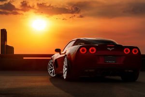 corvette car sunset
