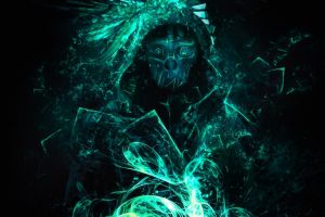 corvo attano artwork dishonored video games glowing dishonored corvo simple background