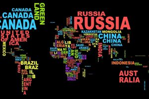 countries world map colorful map black background typography word clouds
