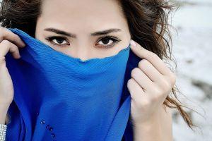 covered face eyes hands black eyes portrait brunette dark eyes face long eyelashes women