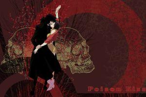cowboy bebop red background anime skull