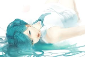 cracked anime girls cyan hair blue eyes blue hair tie