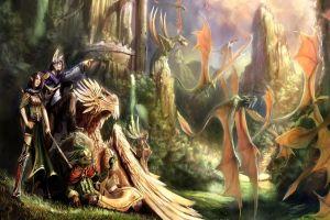 creature colorful fantasy art artwork dragon fantasy girl