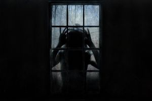 creepy horror women window dark