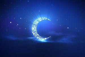 crescent moon minimalism blue moon stars artwork night