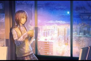 cup anime girls anime cityscape