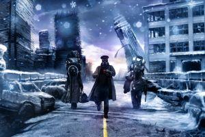 cup winter bridge romantically apocalyptic  vitaly s alexius apocalyptic police digital art snow tea russia ice