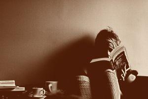 cup women books sepia