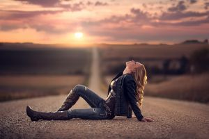 curly hair black jackets torn jeans knee-high boots women landscape looking up jeans jake olson blonde road depth of field
