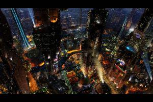 cyberpunk digital art futuristic futuristic city