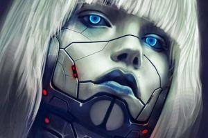 cyberpunk science fiction blue cyborg