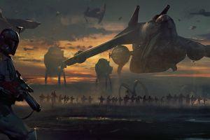 darek zabrocki  artwork boba fett star wars fantasy art science fiction