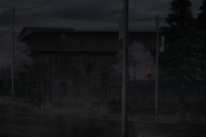 dark building another anime traffic lights