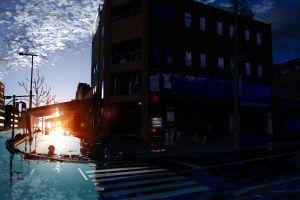 dark building city sunlight