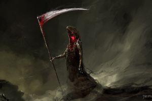 dark digital art creature death sickle painting drawing red eyes fantasy art blood scythe grim reaper