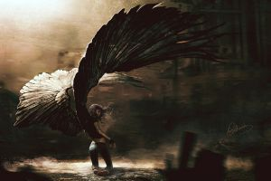 dark drawing digital art fallen angel women wings fantasy art angel