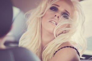 dark eyes face women model blonde