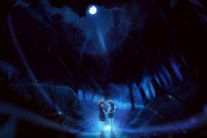 dark forest anime anime girls moon night