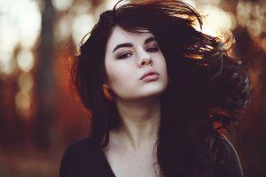 dark hair brunette long hair model women brown eyes face