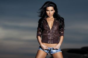 dark hair jean shorts elena alexandra apostoleanu jacket leather jackets short shorts brown jacket unfastened cleavage black hair