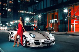 dark hair red dress long hair porsche