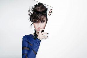 dark hair women simple background portrait face brunette painted nails white background model
