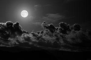 dark night moonlight nature sky clouds moon monochrome
