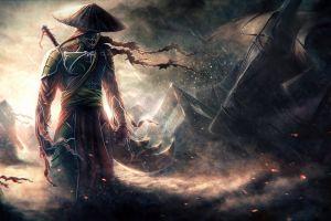 dark people rain warrior fantasy art samurai storm