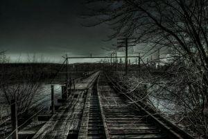 dark railway landscape