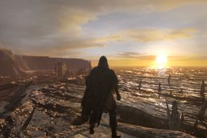 dark souls ii undead video games mountains ruin sea sunset