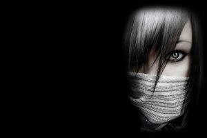 dark women minimalism scarf face eyes simple background