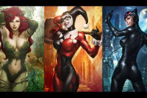 dc comics catwoman batman poison ivy gotham city sirens harley quinn collage artgerm stanley lau