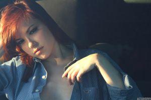 depth of field women open shirt actiongirls redhead elizabeth marxs redhead