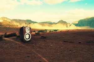 desert landscape digital art speakers