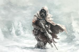 destiny (video game) artwork video games winter hunter sniper rifle