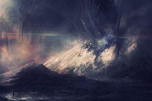 destruction artwork fantasy art landscape digital art mountains