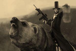 digital art abraham lincoln sepia machine gun humor