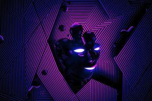 digital art abstract blue lines face purple render